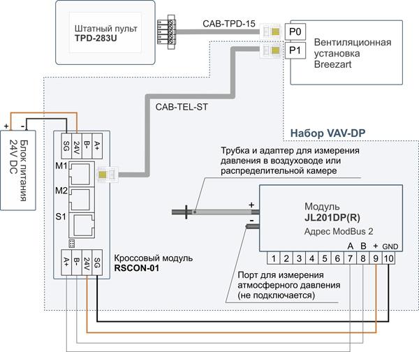 Схема подключения набора VAV-DP для создания VAV-системы